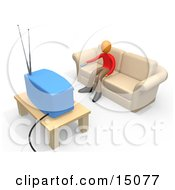 Boy Sitting On A Tan Couch And Holding A Remote Control Out To Change The Channel On His Tv In A Living Room Clipart Graphic