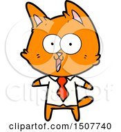 Funny Cartoon Cat Wearing Shirt And Tie