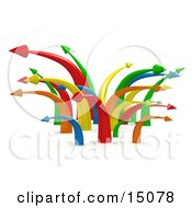 Chaotic Mess Of Colorful Arrows Going In Multiple Directions Symbolizing Confusion Or Traffic Clipart Graphic