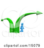 Blue Businessman Standing Between Two Green Arrows Wondering Which Path To Take In His Business Career Clipart Graphic