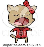 Cartoon Yawning Cat