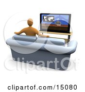 Orange Figure Sitting On A Loveseat Sofa In A Living Room And Watching The News Channel On Television While Resting His Arms On The Back Of The Couch