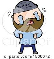 Cartoon Bearded Man Crying