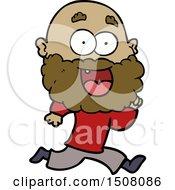 Cartoon Crazy Happy Man With Beard Running