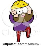Cartoon Surprised Bearded Man