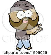 Cartoon Bearded Man Grasping