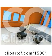 Glass Table And Four Square Black Leather Seats In A Modern Conference Room Or Office Lobby With White Waxed Floors