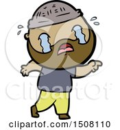 Cartoon Bearded Man Crying