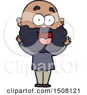 Cartoon Crazy Happy Man With Beard