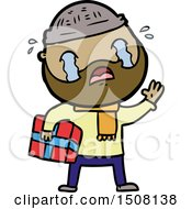 Cartoon Bearded Man Crying With Christmas Present
