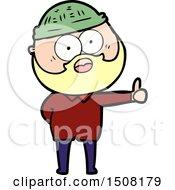 Cartoon Bearded Man Giving Thumbs Up Sign