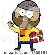 Cartoon Bearded Man With Present
