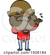 Cartoon Dismissive Man With Beard Frowning