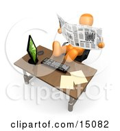 Lazy Orange Employee Or Manager Slacking While Leaning Back In Their Chair With Their Feet Up On A Computer Desk And Reading A Newspaper Instead Of Working