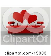 Modern Living Room Or Office Lobby Interior With A Red Love Seat Clipart Graphic