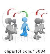 Blue Person Standing Between Two Different Rows Of Grey People Thinking Differently From Others Clipart Graphic by 3poD