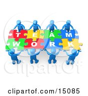 Blue 3d People Working Together To Hold Colorful Pieces Of A Jigsaw Puzzle That Spells Out Team Work Clipart Graphic