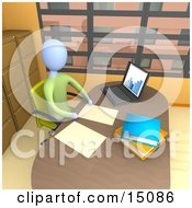 Businessperson Seated In A Chair At Their Desk By A Laptop Computer Working On Paperwork In A Highrise Office In The City Clipart Graphic