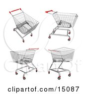 Four Metal Store Shopping Carts In 3D Clipart Graphic