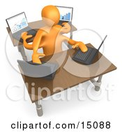 Orange Employee Multitasking While Operating Four Laptop Computers At Two Different Desks In An Office Clipart Graphic