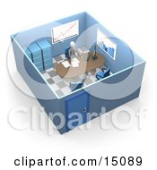 Busy Boss Or Manager Businessman In A Suit And Tie Seated At A Desk And Doing Paperwork Inside His Private Office Suite With Filing Cabinets And Charts And Graphs On The Walls Clipart Graphic