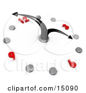 White Office Wall Clock With Black Hands Pointing At 4pm Silver Hour Dots And Red Numbers Clipart Graphic