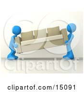 Two Blue Male Figures Lifting And Carrying Away A Tan Couch While Moving Clipart Graphic