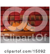 Modern Living Room Or Office Lobby Interior With An Orange Sofa With Tulip Shaped Back Rests And Chrome Poles Against A Red Cubic Wall