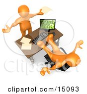 Flustered Orange Co Worker Employee Holding Their Arms Up While Complaining To Their Lazy Boss Or Colleague While They Pick Up All The Slack Clipart Graphic