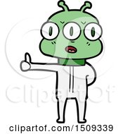 Poster, Art Print Of Cartoon Three Eyed Alien