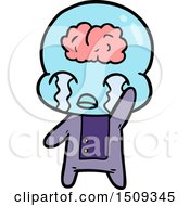 Poster, Art Print Of Cartoon Big Brain Alien Crying