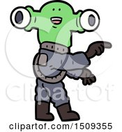 Poster, Art Print Of Friendly Cartoon Alien Pointing