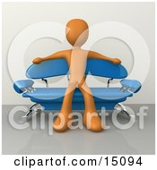 Orange Male Figure Sitting With His Arms Out On The Back Of A Modern Blue Sofa With Chrome Supports In A Living Room Or Waiting In An Office Lobby Clipart Graphic by 3poD