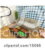 Wooden Table With Colorful Glass Inserts In Front Of A Beige Couch Against A Wall Of Windows In A Modern Living Room Or Office Lobby
