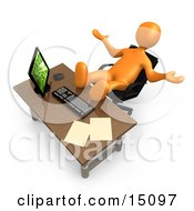 Lazy Orange Employee Or Manager Slacking While Leaning Back In Their Chair At A Computer Desk With Their Feet Up On The Table Top
