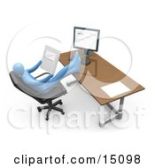 Relaxed Blue Business Person Seated In A Chair In Front Of A Computer His Feet Crossed And Up On The Desk While Leaning Back And Looking At Graphs Showing An Increase In Sales