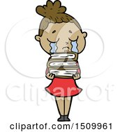 Cartoon Crying Woman With Stack Of Books