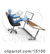 Relaxed Blue Business Person Leaning Back In A Chair In Front Of A Computer In An Office His Feet Crossed And Up On The Desk While Comparing Graphs Showing An Increase In Sales Clipart Graphic