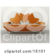 Modern Living Room Or Office Lobby Interior With An Orange Sofa