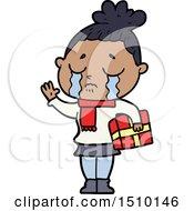Cartoon Crying Woman With Christmas Gift