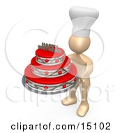 Baker Person Wearing A White Chefs Hat And Holding A Red And Silver Three Tiered Birthday Cake With A Happy Birthday Decoration On Top