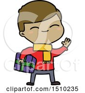 Cartoon Smiling Boy With Gift