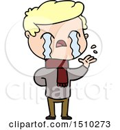 Cartoon Man Crying Wearing Winter Scarf