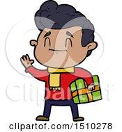 Happy Cartoon Man With Gift