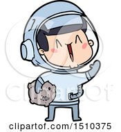 Happy Cartoon Astronaut With Moon Rock by lineartestpilot