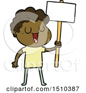 Laughing Cartoon Man With Black Signpost