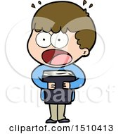 Cartoon Shocked Man With A Book