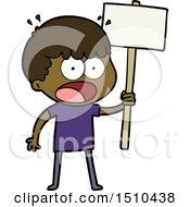 Cartoon Shocked Man With Placard