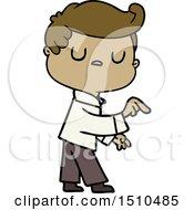 Cartoon Aloof Man Pointing Finger