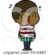 Laughing Cartoon Man Holding Stack Of Books